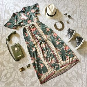 Angie green floral rayon romper maxi dress combo L